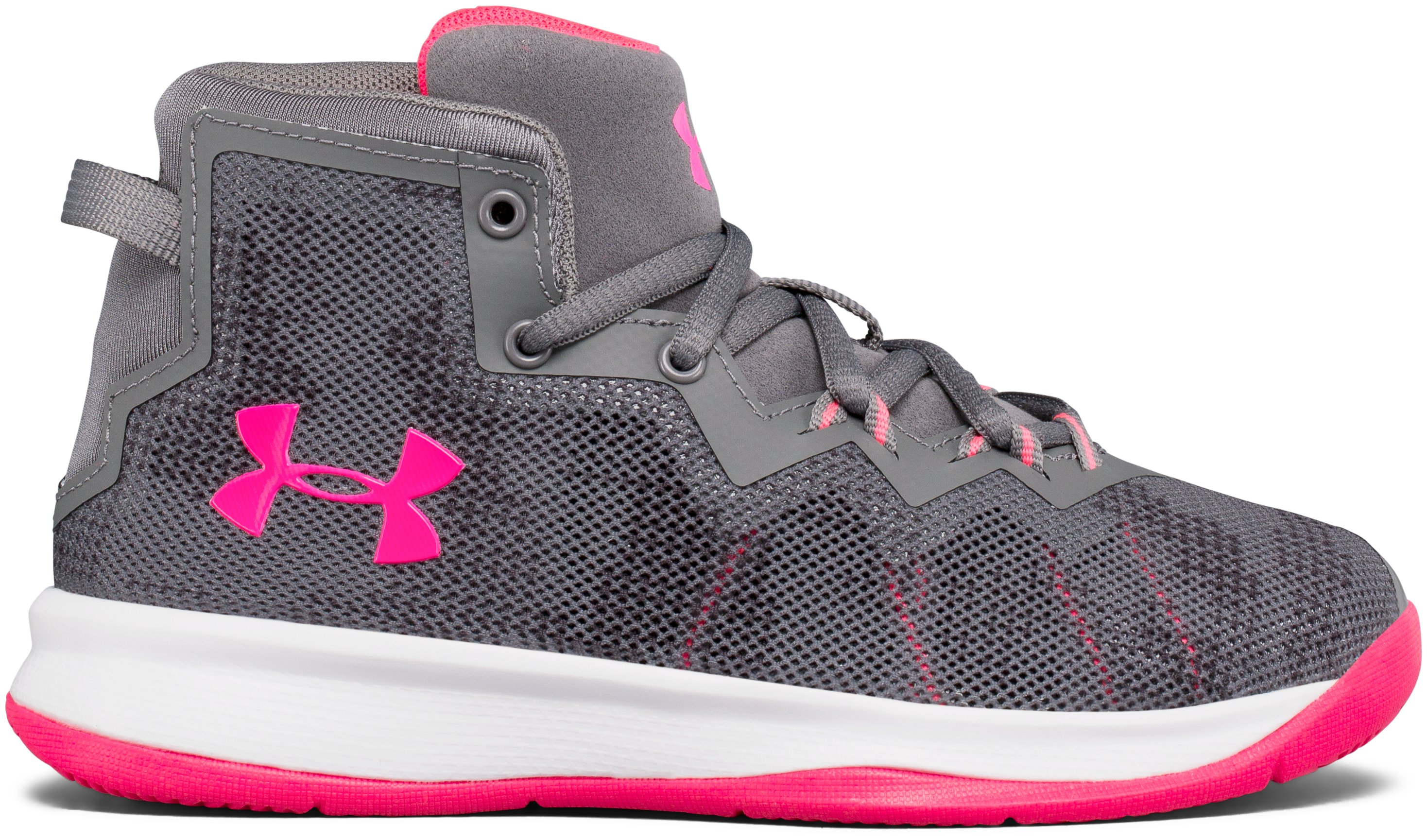 Girls' Pre-School UA Lightning 4 Basketball Shoes, Graphite