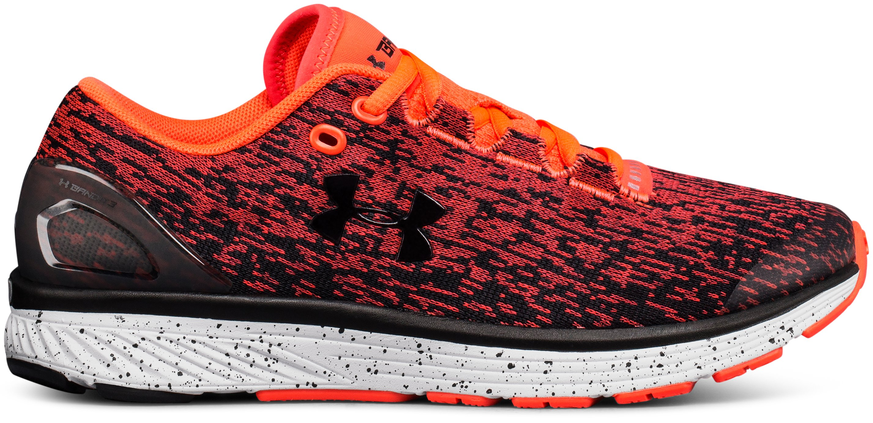 Boys' Grade School UA Charged Bandit 3 Ombre Running Shoes, NEON CORAL, zoomed