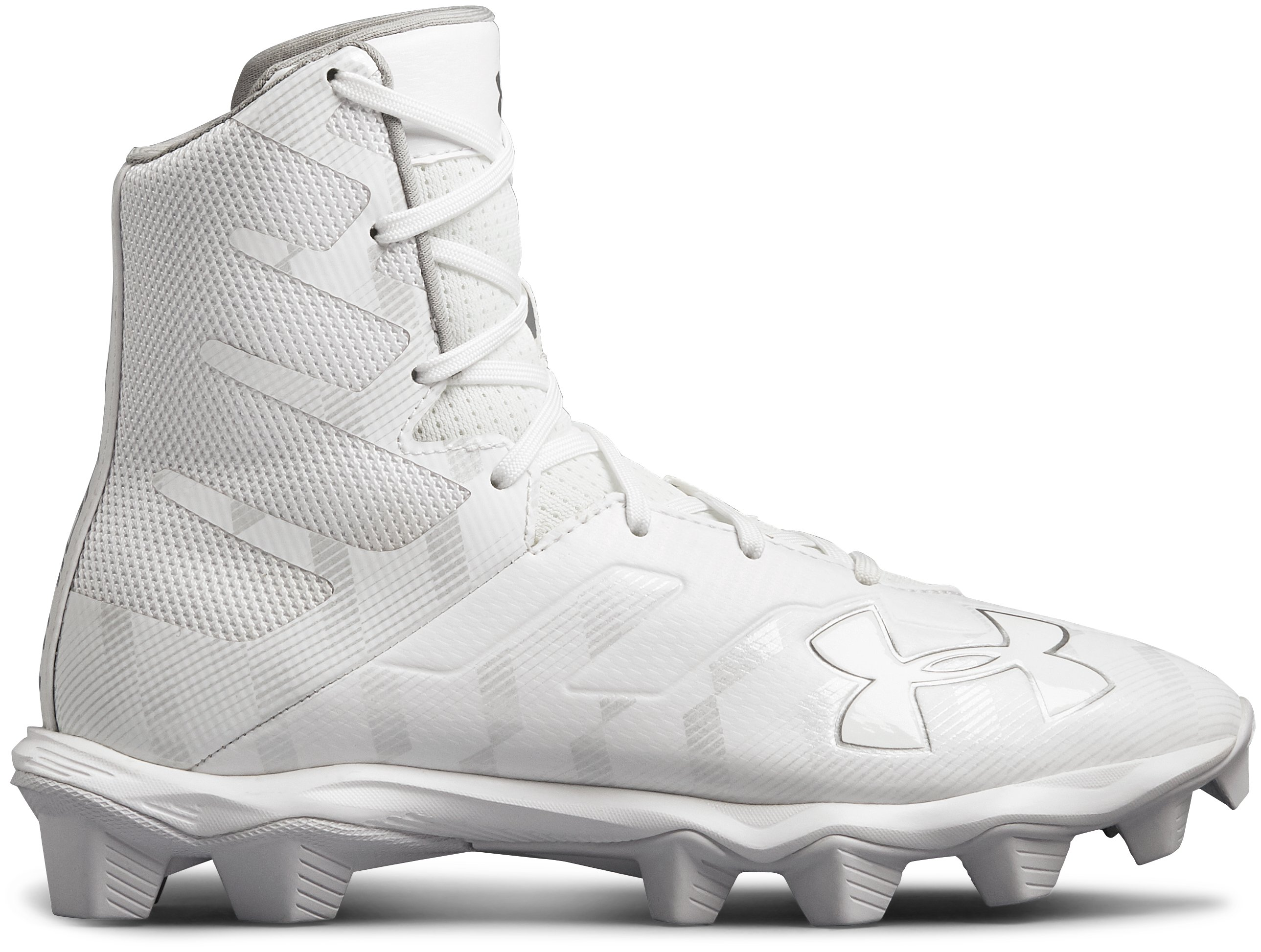 Boys' UA Highlight RM Jr. Lacrosse Cleats, White, zoomed