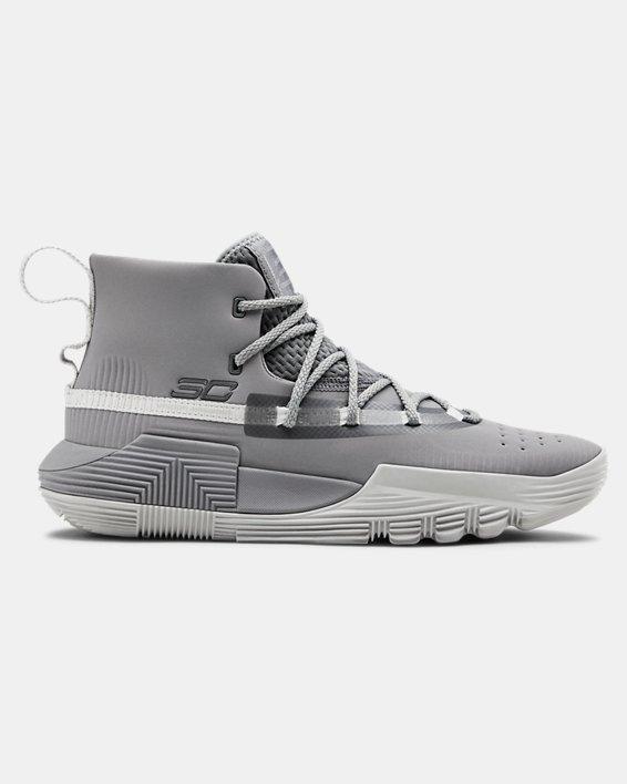 Grade School UA Curry 3Zer0 2 Basketball Shoes, Gray, pdpMainDesktop image number 0