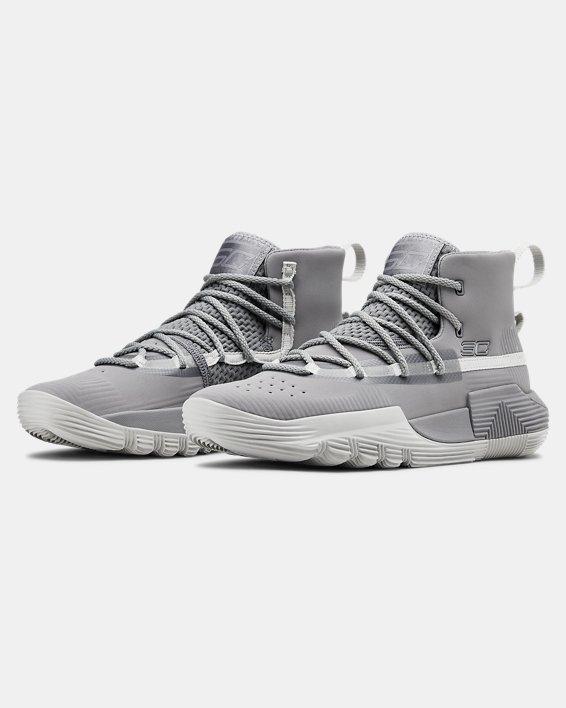 Grade School UA Curry 3Zer0 2 Basketball Shoes, Gray, pdpMainDesktop image number 4