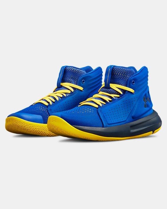 Boys' Grade School UA Torch Mid Basketball Shoes, Blue, pdpMainDesktop image number 4