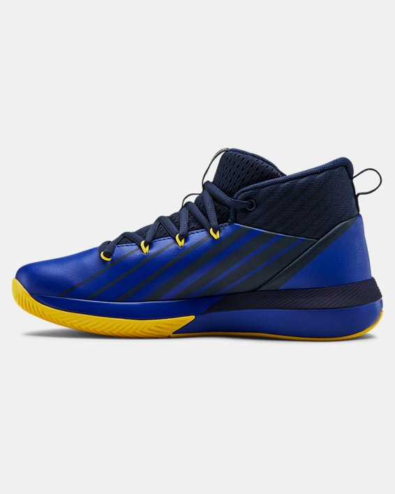 Boys' Grade School UA Lockdown 3 Basketball Shoes, Navy, pdpMainDesktop image number 1