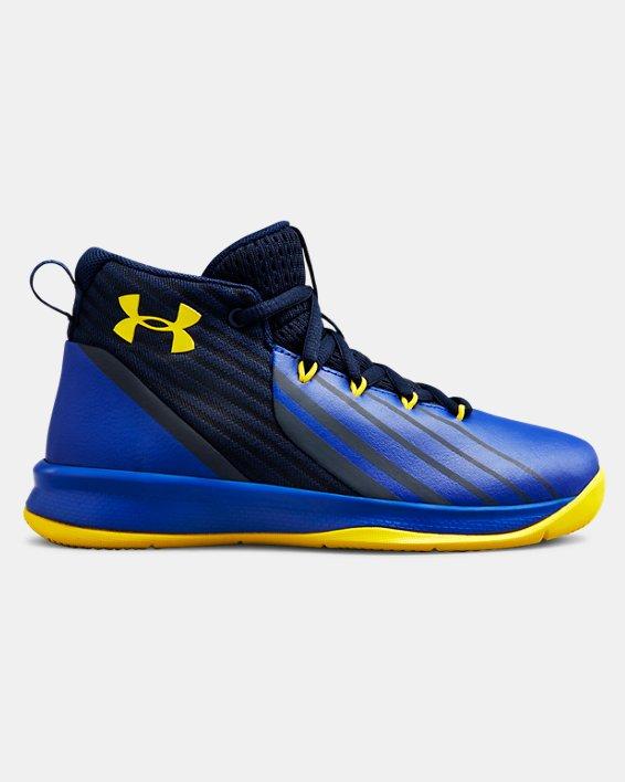 Boys' Pre-School UA Lockdown 3 Basketball Shoes, Navy, pdpMainDesktop image number 0