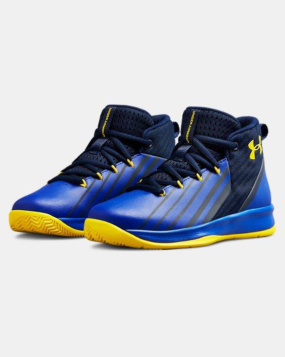Boys' Pre-School UA Lockdown 3 Basketball Shoes, Navy, pdpMainDesktop image number 4