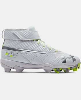 New Arrival Boys' UA Harper 3 Mid RM Jr. Baseball Cleats  4  Colors Available $40