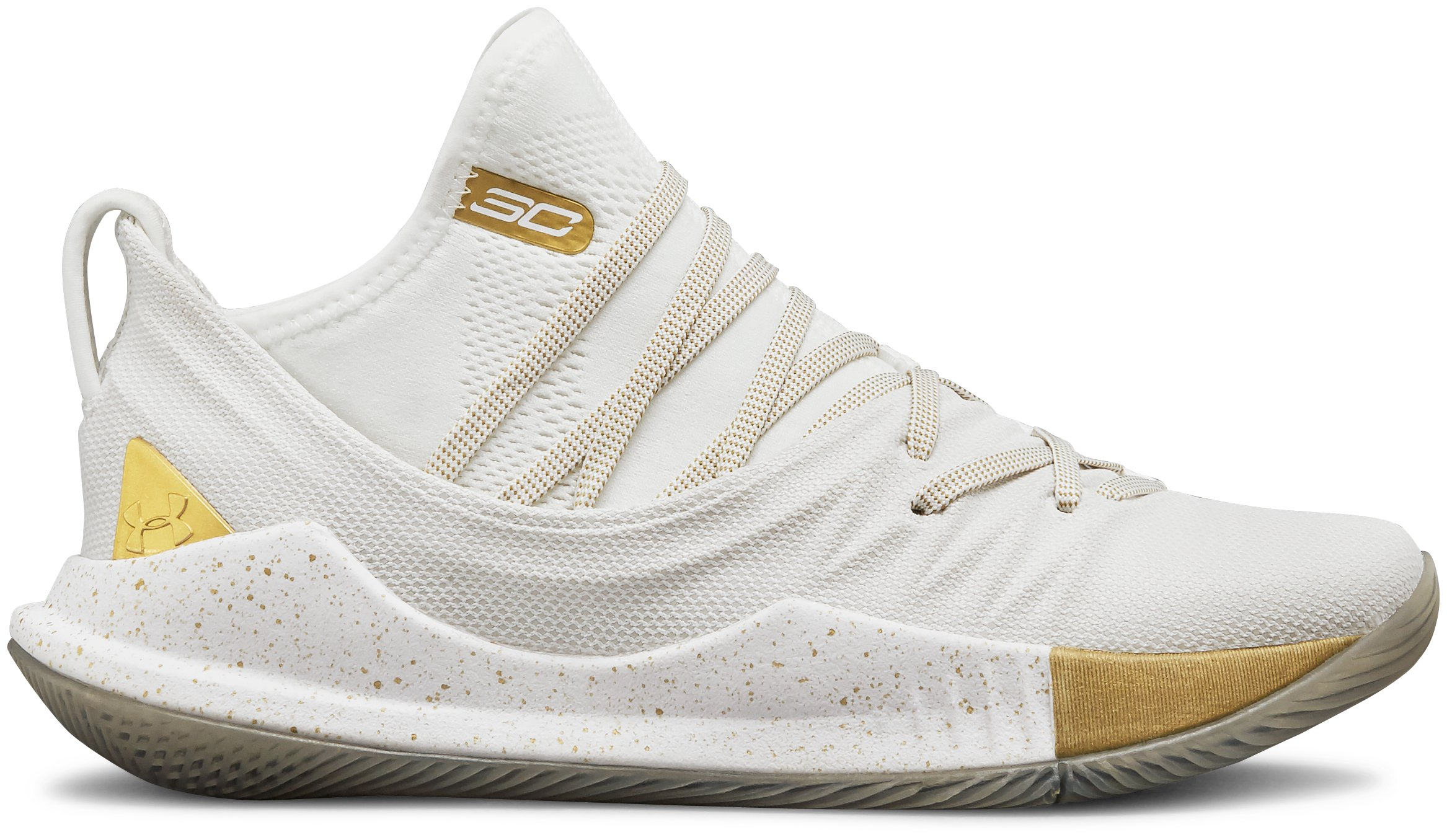 Boys' Grade School UA Curry 5 Basketball Shoes, White,