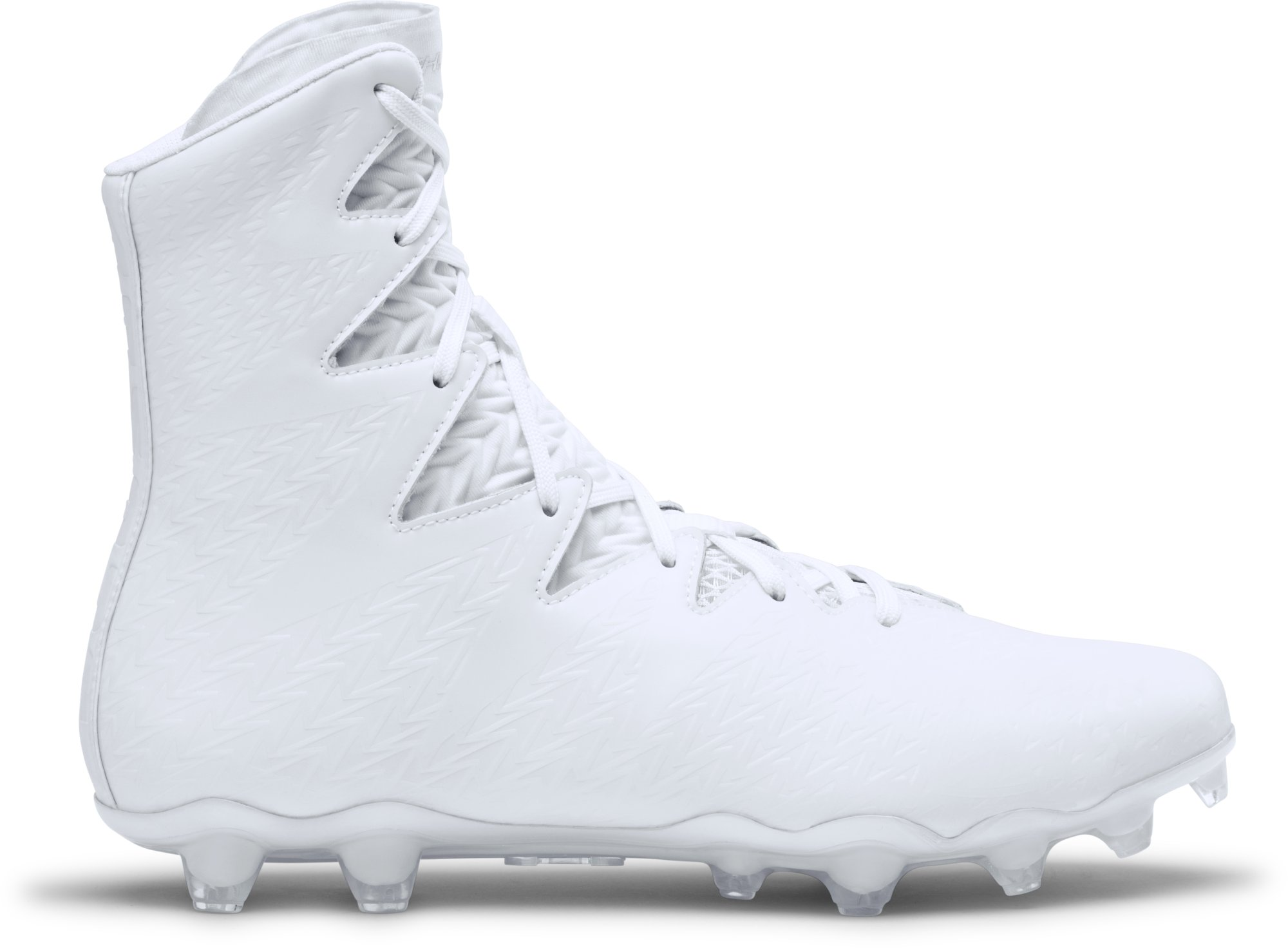 An all-white UA Icon Highlight Football Cleat