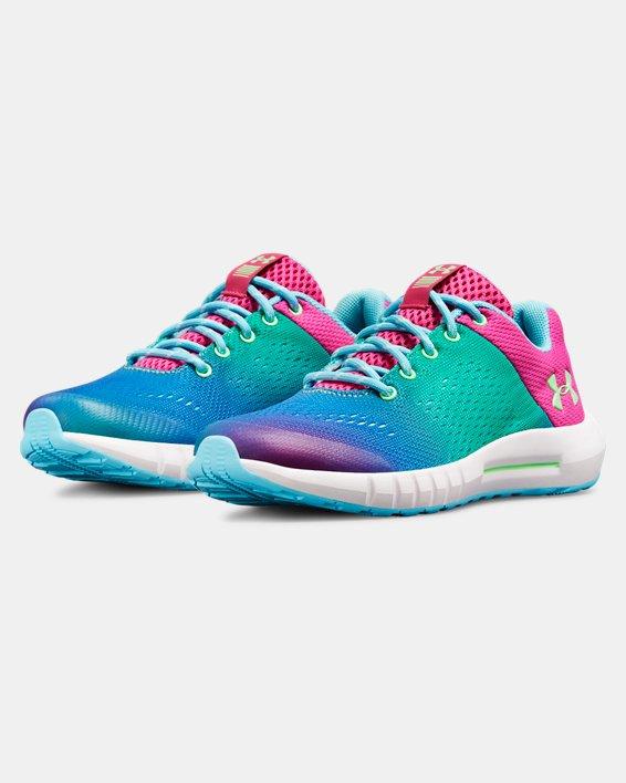 Girls' Pre-School UA Pursuit Prism Shoes, Blue, pdpMainDesktop image number 4