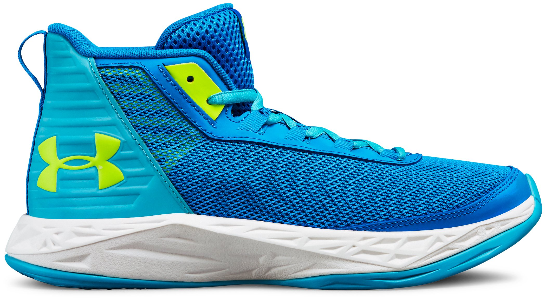 Girls' Grade School UA Jet 2018 Basketball Shoes, Blue Circuit, , Blue Circuit