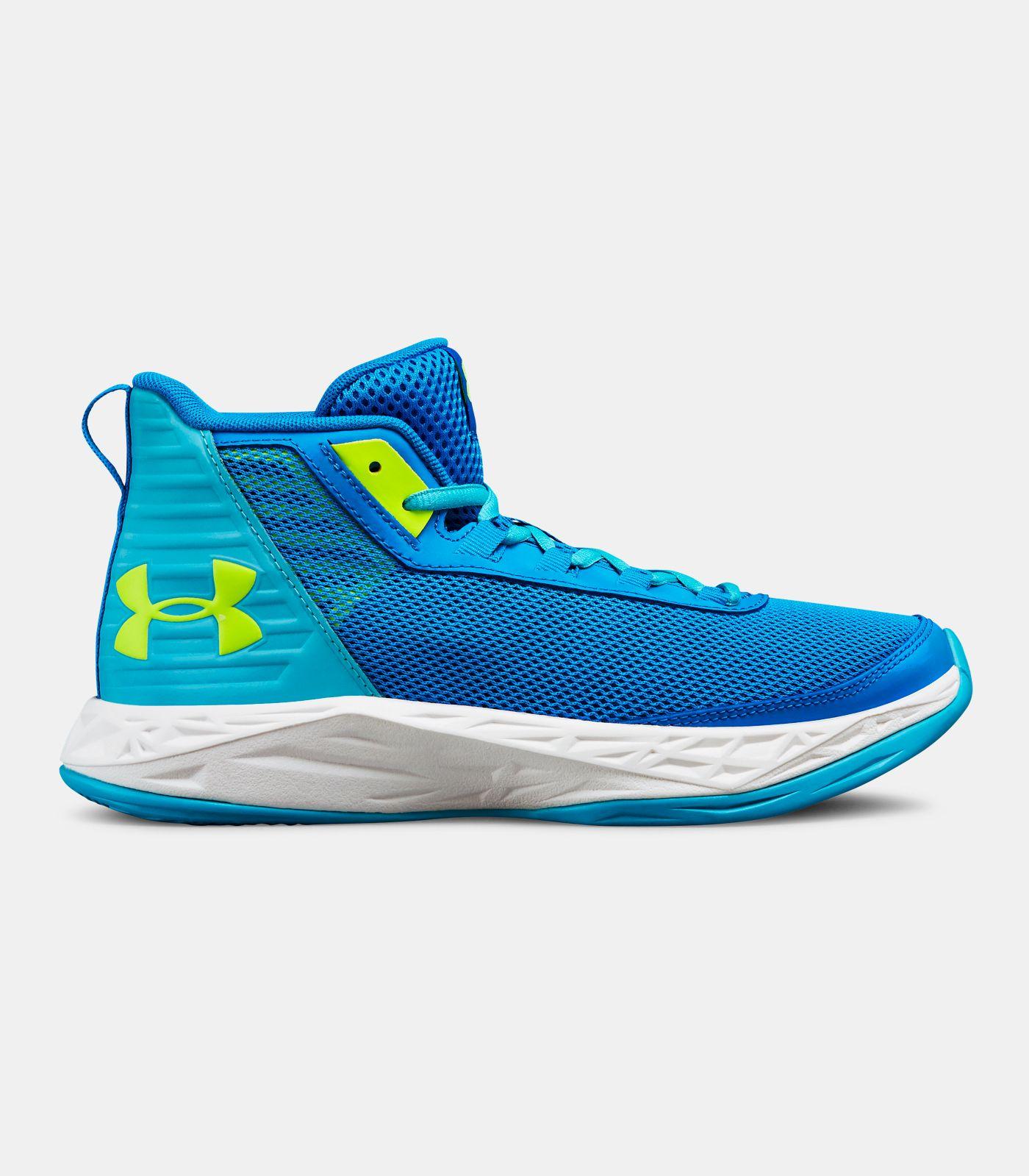 Girls' Grade School UA Jet 2018 Basketball Shoes, Blue Circuit, , Blue Circuit