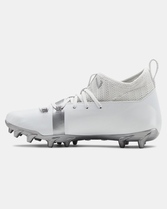 Boys' UA C1N MC Jr. Football Cleats, White, pdpMainDesktop image number 1