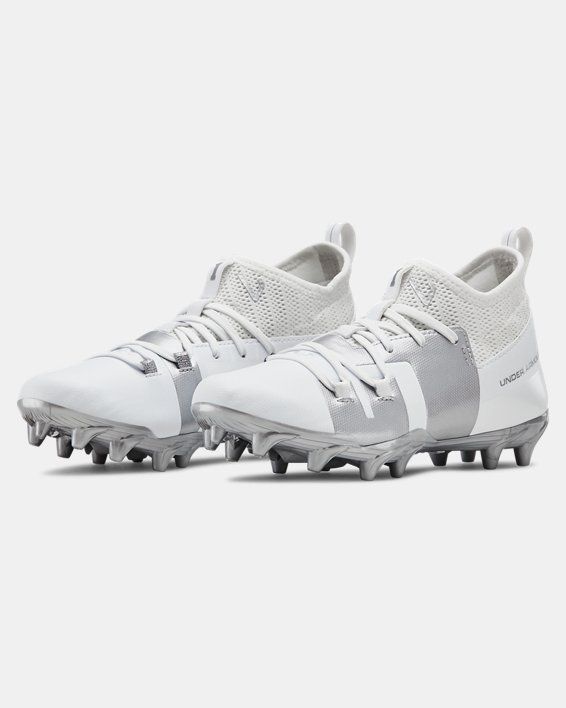 Boys' UA C1N MC Jr. Football Cleats, White, pdpMainDesktop image number 4