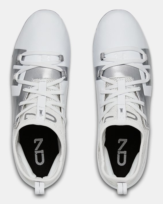 Boys' UA C1N MC Jr. Football Cleats, White, pdpMainDesktop image number 3