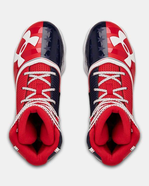 Boys' UA Highlight RM LE Jr. Football Cleats, Red, pdpMainDesktop image number 3