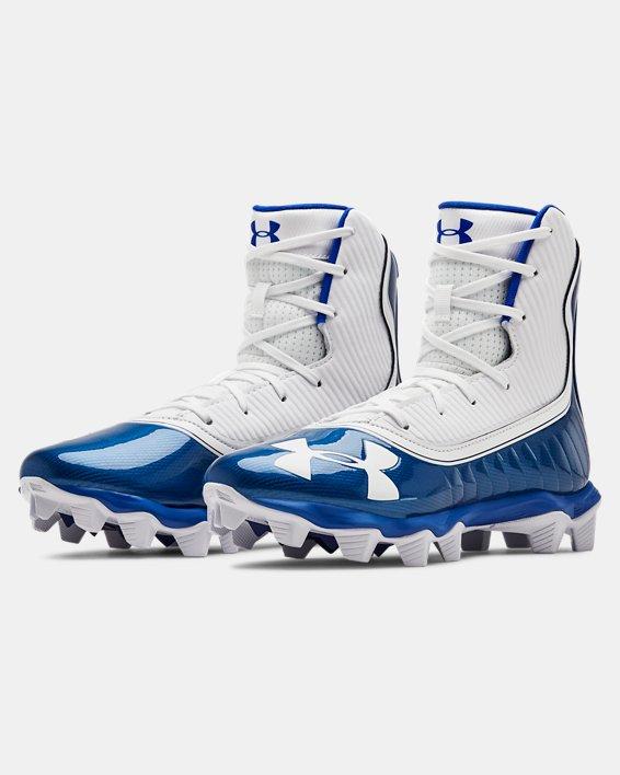 Boys' UA Highlight RM Jr. Football Cleats, Blue, pdpMainDesktop image number 4