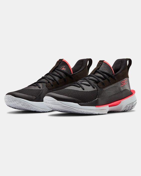 Adult UA Curry 7 Basketball Shoes, Black, pdpMainDesktop image number 4