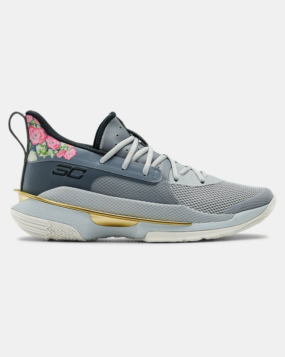 Adult UA Curry 7 Basketball Shoes, Gray, pdpMainDesktop image number 0