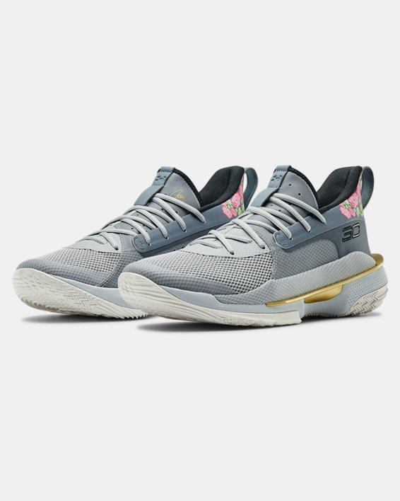 Adult UA Curry 7 Basketball Shoes, Gray, pdpMainDesktop image number 4