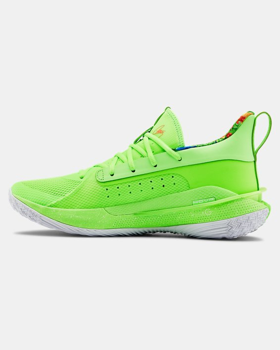 Adult UA Curry 7 Basketball Shoes, Green, pdpMainDesktop image number 1