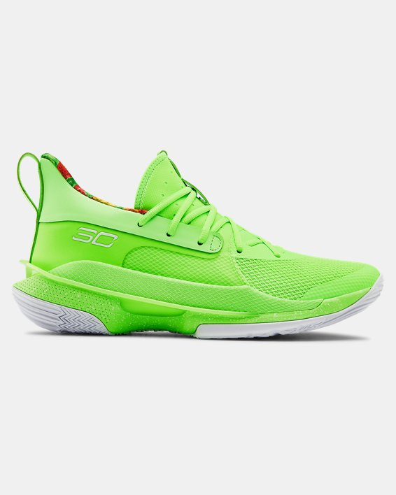 Adult UA Curry 7 Basketball Shoes, Green, pdpMainDesktop image number 0
