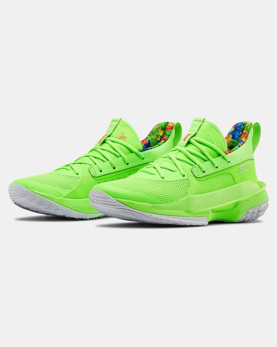Adult UA Curry 7 Basketball Shoes, Green, pdpMainDesktop image number 4