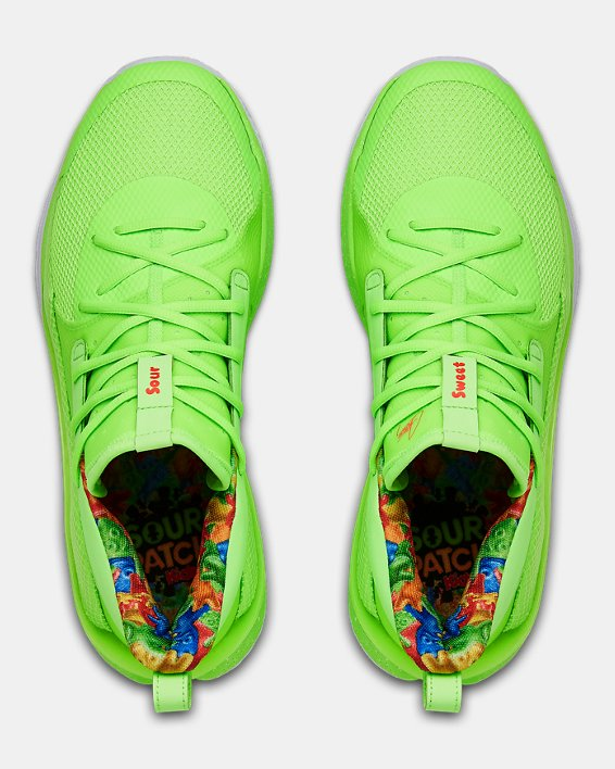 Adult UA Curry 7 Basketball Shoes, Green, pdpMainDesktop image number 3
