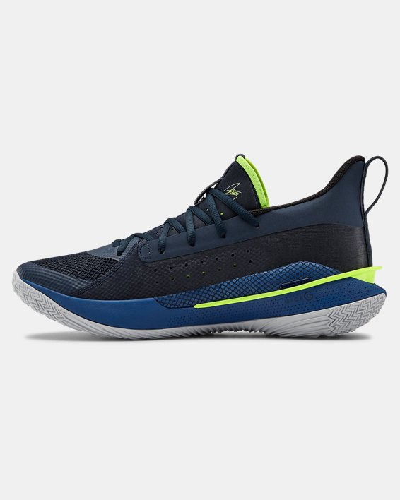 Adult UA Curry 7 Basketball Shoes, Navy, pdpMainDesktop image number 1