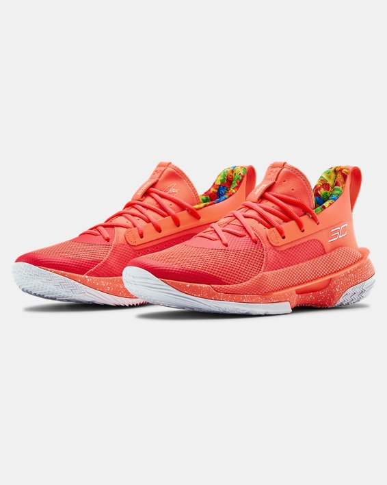 Adult UA Curry 7 Basketball Shoes, Red, pdpMainDesktop image number 4