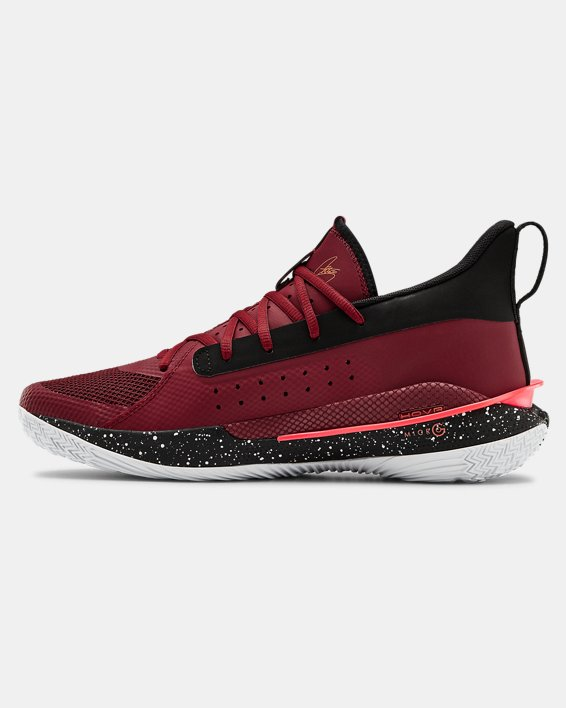 Adult UA Curry 7 Basketball Shoes, Red, pdpMainDesktop image number 1