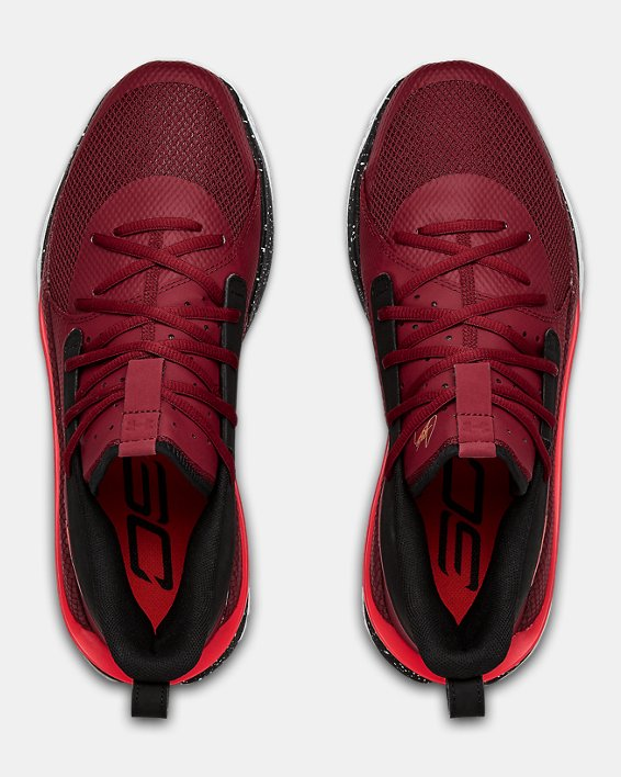 Adult UA Curry 7 Basketball Shoes, Red, pdpMainDesktop image number 3