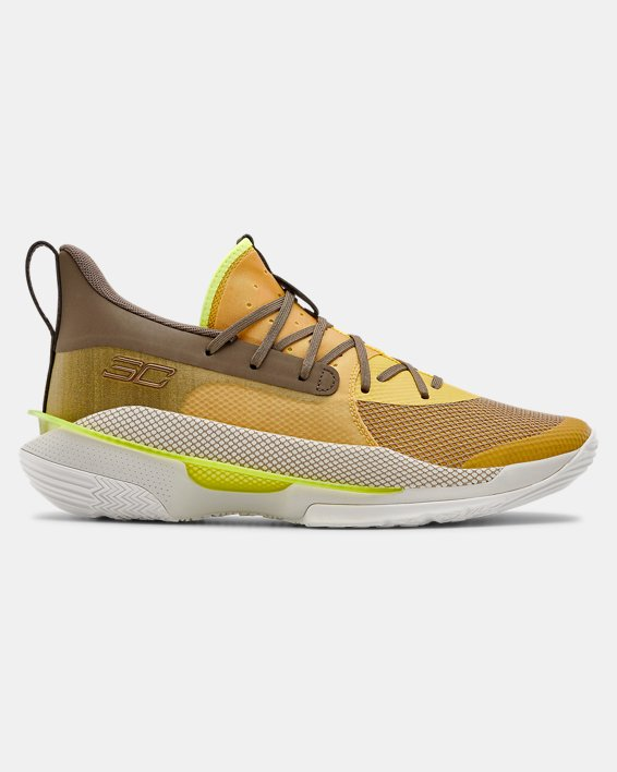 Adult UA Curry 7 Basketball Shoes, Yellow, pdpMainDesktop image number 0