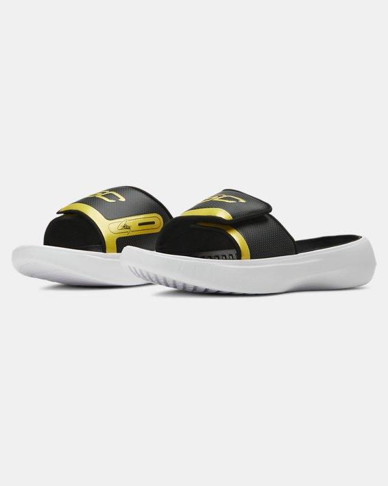 Boys' UA Curry 6 Slides, Black, pdpMainDesktop image number 4