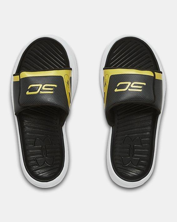 Boys' UA Curry 6 Slides, Black, pdpMainDesktop image number 3