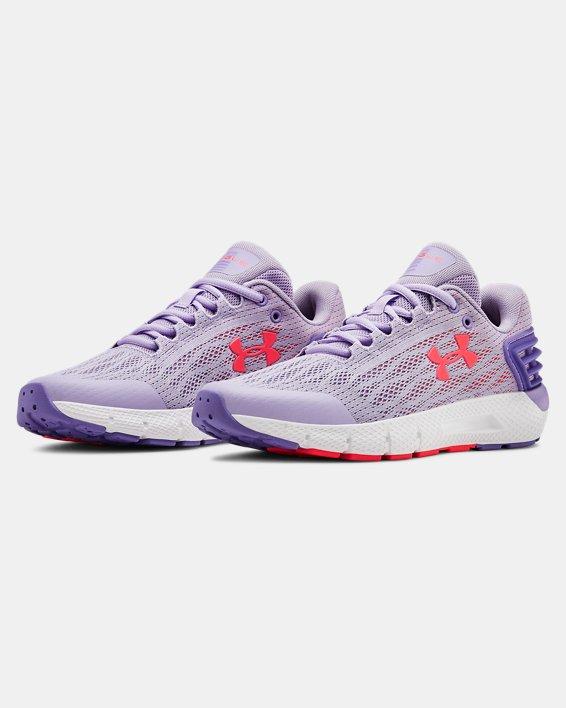 Girls' Grade School UA Charged Rogue Running Shoes, Purple, pdpMainDesktop image number 4
