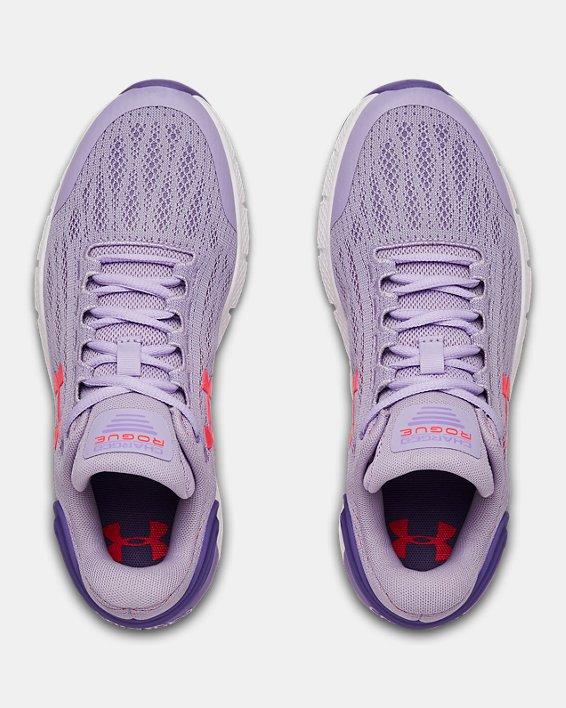 Girls' Grade School UA Charged Rogue Running Shoes, Purple, pdpMainDesktop image number 3