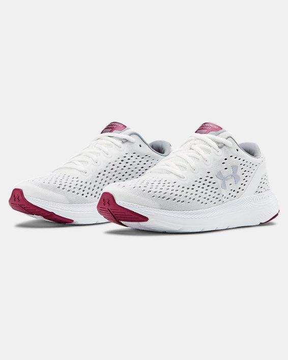 Women's UA Charged Impulse Running Shoes, White, pdpMainDesktop image number 4