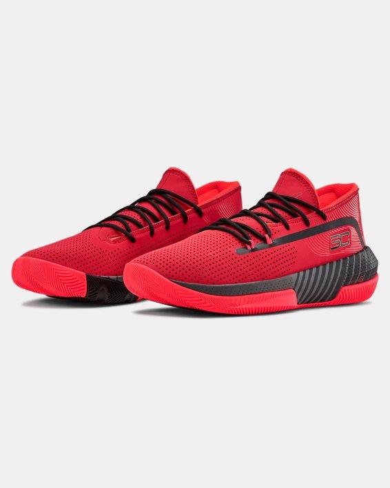 Men's UA SC 3ZER0 III Basketball Shoes, Red, pdpMainDesktop image number 4