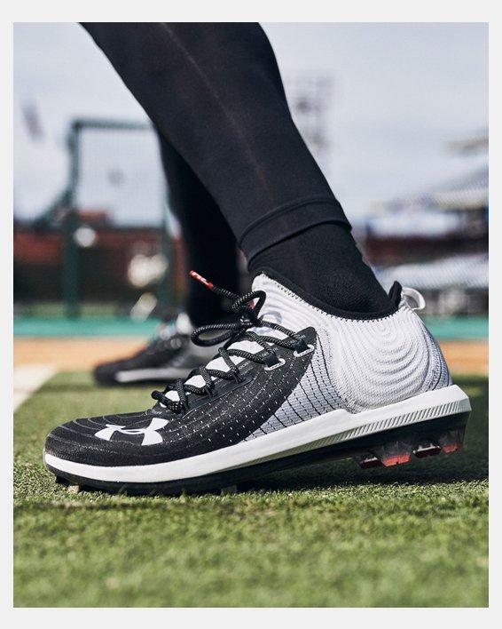 Men's UA Harper 4 Low ST Baseball Cleats, White, pdpMainDesktop image number 1