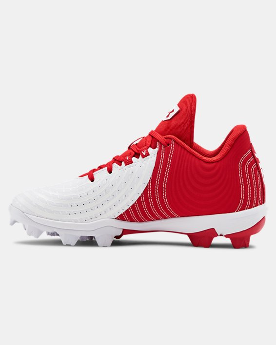 Boys' UA Harper 4 Low RM Jr. Baseball Cleats, Red, pdpMainDesktop image number 1