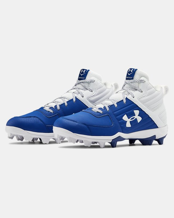 Men's UA Leadoff Mid RM Baseball Cleats, Blue, pdpMainDesktop image number 4