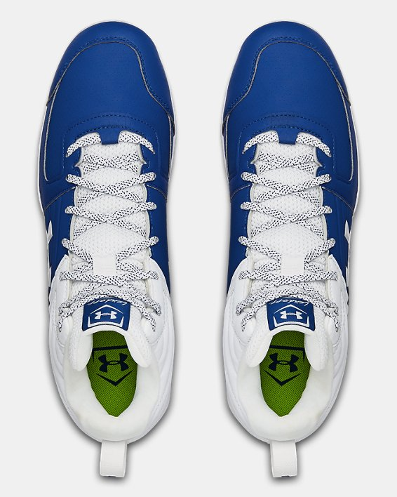 Men's UA Leadoff Mid RM Baseball Cleats, Blue, pdpMainDesktop image number 3