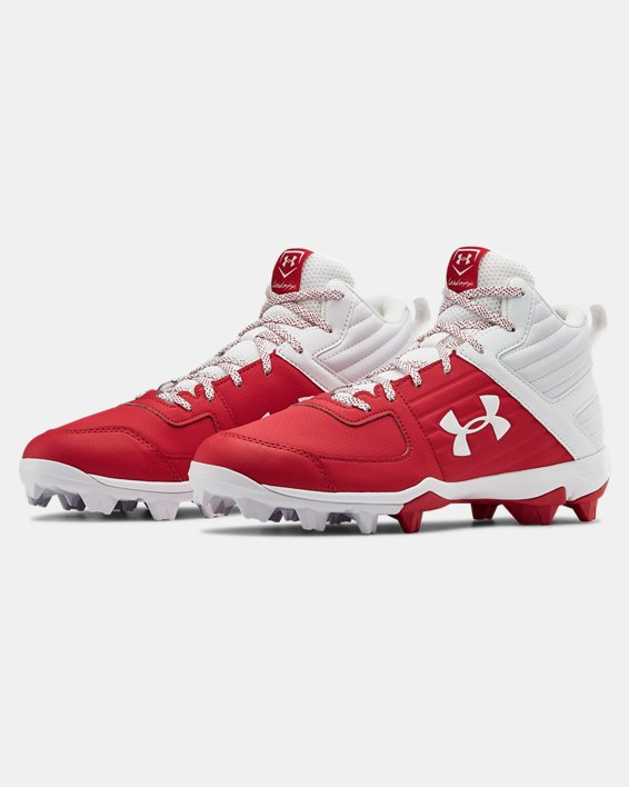 Men's UA Leadoff Mid RM Baseball Cleats, Red, pdpMainDesktop image number 4