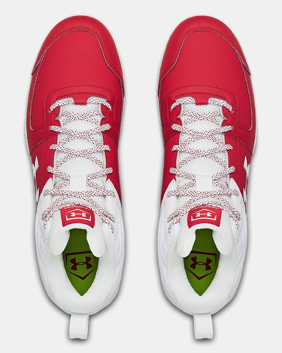 Men's UA Leadoff Mid RM Baseball Cleats, Red, pdpMainDesktop image number 3