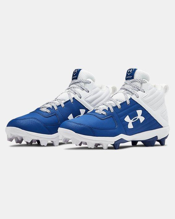 Boys' UA Leadoff Mid RM Jr. Baseball Cleats, Blue, pdpMainDesktop image number 4
