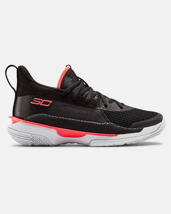 Kids' Grade School UA Curry 7 Basketball Shoes, Black, pdpMainDesktop image number 0