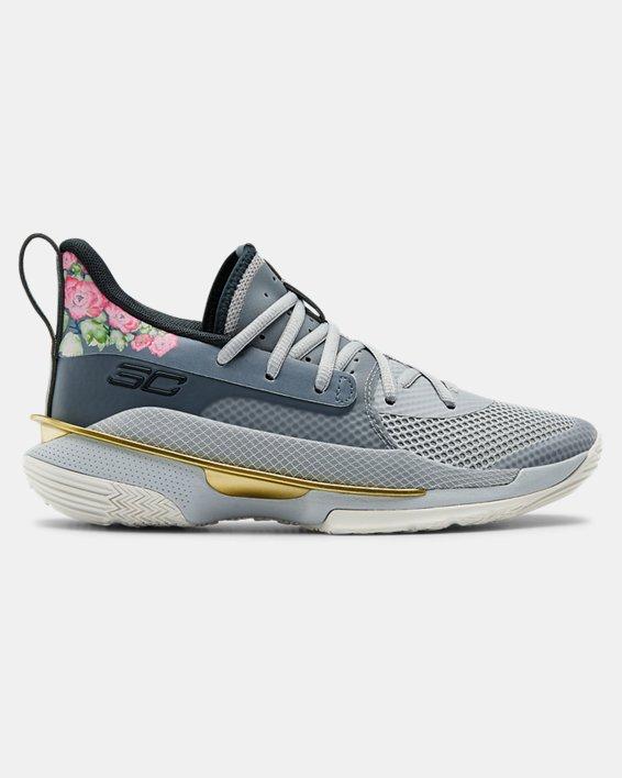 Kids' Grade School UA Curry 7 Basketball Shoes, Gray, pdpMainDesktop image number 0