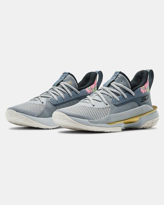 Kids' Grade School UA Curry 7 Basketball Shoes, Gray, pdpMainDesktop image number 3