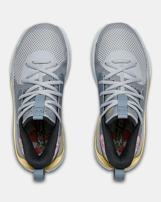 Kids' Grade School UA Curry 7 Basketball Shoes, Gray, pdpMainDesktop image number 2