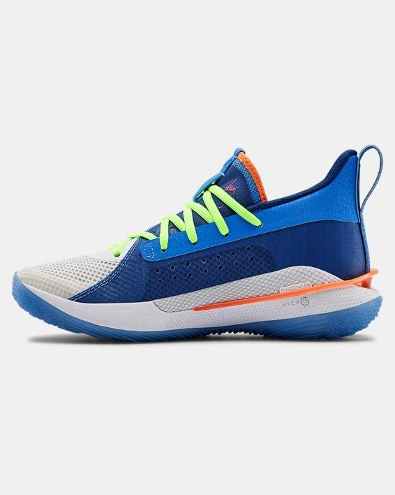 Kids' Grade School UA Curry 7 Basketball Shoes, Blue, pdpMainDesktop image number 1